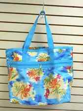 TROPICAL FLORAL BEACH BAG TOTE WITH SMALL ZIPPER CASE - 2 PIECE SET