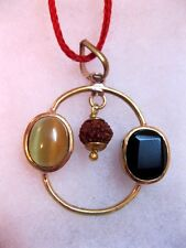Rare Rahu Ketu & Rudraksha Yantra Pendant In Hessonite- Cat's Eye Stone -5 Ratti