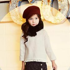 NEW Korea Peach & Cream Girl Child Beige Warm Fleece Tops sweater jumper