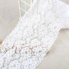 EL12- 3m x18cm IVORY White Vintage ELASTIC Lace Bridal Wedding Trim Ribbon CRAFT