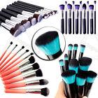 10 Kabuki Style Professional Make up Brush Set Foundation Blusher Face Powder UK
