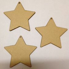 10 x Large wooden Stars 10cm blank craft shapes With Hole