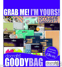 Docraft's goody bag Card & Scrapbooking May 2015 Mr Mister Owl folk Neon Denim