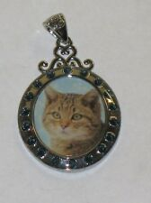 RARE WILLABEE AND WARD JANUARY CAT  PENDANT WITH SWAVORSKI CRYSTALS