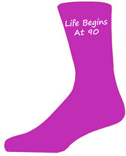 Quality Hot Pink Life Begins at 90 Socks, Lovely Birthday Gift