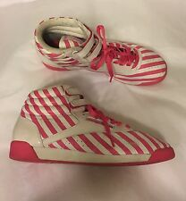 REEBOK Classic trainers sneakers 40.5 UK 7 white pink striped leather 1990s VTG