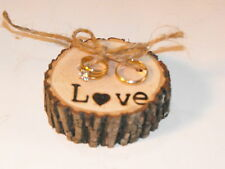 Love Tree Ring bearer pillow, Rustic wedding wood ring pillow