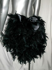 FEATHER BUSTLE WITH BOW. BURLESQUE, SHOW GIRL. BLACK