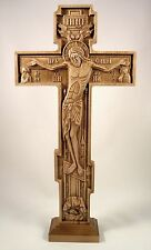 """Russian Orthodox wooden carved cross on the stand Beech Middle 11.81"""" wood Icon"""