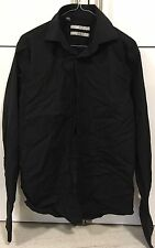 "Men's 15.5"" Black Long Sleeve Collared Double Cuff Shirt By Next Pure Cotton"
