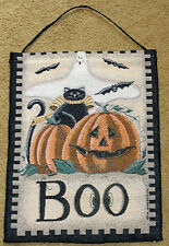 Ghostly Greetings Halloween Pumpkin Black Cat Tapestry Bannerette Wall Hanging