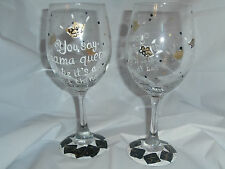 HAND PAINTED DRAMA QUEEN AND CROWNS  WHITE WINE GOBLETS / SET OF 4-