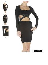 HERVE LEGER gracie découpe-détail bandage robe noire taille s