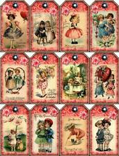 12 VALENTINE VINTAGE CHILDREN  - THICK 155 # SCRAPBOOK PAPER CRAFT GIFT TAGS L