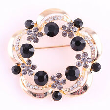 Women Jewelry Flower Style Black Crystal Wedding Bridal Brooch Pin Gold Plated