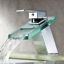 Waterfall Square Glass Bathroom Basin Sink Mixer Tap Chrome Faucet L-4201