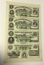 US Obsolete Currency - Bank of New England $1 $2 $5, Uncut Sheet of 4*