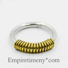 925 Sterling Silver Ring With Gold Plated Wire Size 5.5