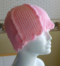 Womens CROCHET BEANIE CHEMO CAP HAT PINK One Size Fits Most Teen/Adult NEW
