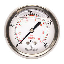 "2-1/2"" Liquid Filled Pressure Gauges - 1/4"" NPT Center Back Mount 200PSI"