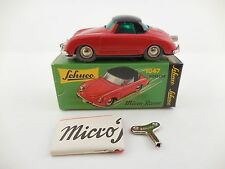 Schuco Micro Racer 1047 Porsche 356 Red Black Roof Wind Up Car New in Box #2