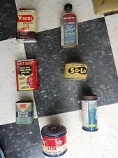 Lot of 5 vintage cans and bottles Very Rare, Sunoco, bee brand , viscol, so-lo
