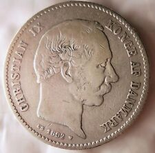 1892 DENMARK KRONE - Low Mintage High Value Silver Coin - Lot #J16