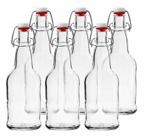 Chef's Star CASE OF 6 16 oz. Clear Bottles Beer Kombucha Grolsch Style Flip-Cap