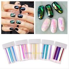 5Pcs Nail Art Stencil Foils Wraps Decal Glitter Stickers Shattered Glass DIY HOT