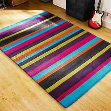 Funky & Bright Jazz Multi Coloured Stripes Modern Handmade Wool Rugs 120X170CM