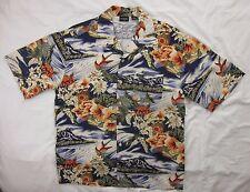Guess Jeans Size Medium Floral Hibiscus Hawaiian Camp Shirt Men's