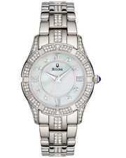 BULOVA DRESS WHITE MOP DIAL CRYSTALS STAINLESS STEEL WOMEN'S WATCH 96L116 NEW