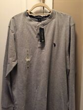 NWT US Polo Assn mens shirt long sleeve grey large retail $42
