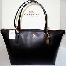 NWT $350 Coach Crossgrain Leather Ava Zip Tote Shoulder Tote Bag BLACK & RECEIPT