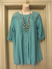 Pull Over Cotton & Lace Top 3/4 Sleeve Gathered Yoke Button Turquoise Blouse