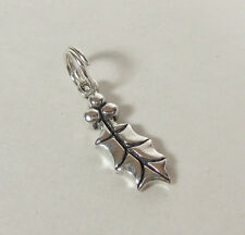 Holly Leaf  Charm Pendant .925 Sterling Silver USA Made Christmas Berries Leaves