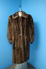 04175 Tissavel Long Soft Shiny Brown Faux Fur Women's Coat Jacket
