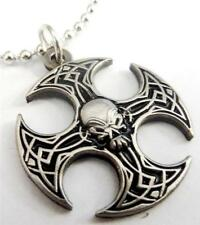 AXE IRON CROSS SKULL German Biker Motorcycle Pendant Necklace w/ Chain
