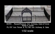 "Marx reissue doll house hard plastic ""iron"" fence with gate 1/32 scale"