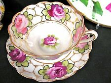 NIPPON TEA CUP AND SAUCER PAINTED ROSES ROSE PATTERN TEACUP SCALLOPED