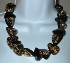 Sobral Metallique Diamantes Black & Gold Statement Necklace From Brazil