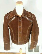 Mens Vintage Leather Suede Handmade Studded Punk Rocker Motorcycle Jacket  Mod L