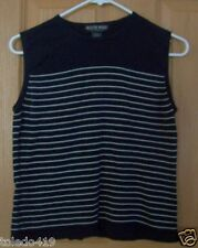 OLIVER PERRY Knitwear Size M Black&White Striped TANK TOP *Cuter* EUC