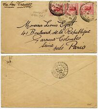 NEW ZEALAND 1903 PENNY UNIVERSALS 3d DUNEDIN to PARIS