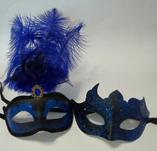 Blue Black Couples Man Woman Masquerade Mardi Gras Male Female Set Feather Masks