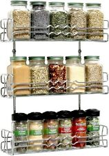 Wall Mount Spice Rack 3 Tier Kitchen Holder Storage Home Organizer Chrome Metal