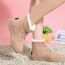 Women Flat Lace Up Fur Lined Winter Warm Martin Boots Snow Ankle Boot Shoes 39