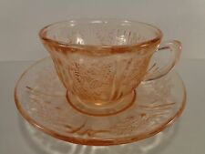 Federal Sharon Cabbage Rose Pink Cup & Saucer Set(s) Depression Glass EX COND
