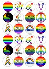 24 LGBT Gay Pride Wafer / Rice Paper Edible Cupcake Topper Fairy Cake Toppers