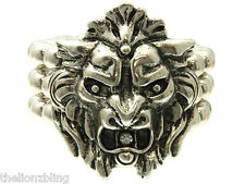 Urban Hip Hop Fashion Antiqued Silver Lion Pendant Bracelet w/ Crystal Bling